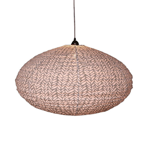 Large 80cm Cream and Grey Rice Cotton Pendant Lampshade