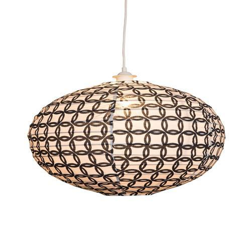 Small 60cm Cream and Black Ring Cotton Pendant Lampshade
