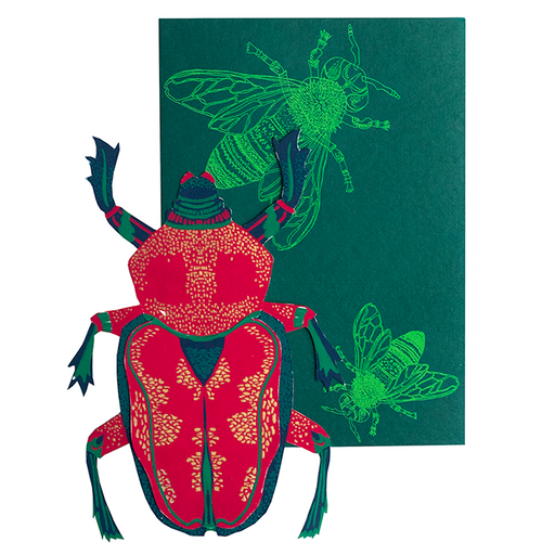 Scarab Beetle Screen Printed & Die Cut Card
