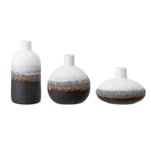 Set of Three Small White and Brown Ceramic Vases