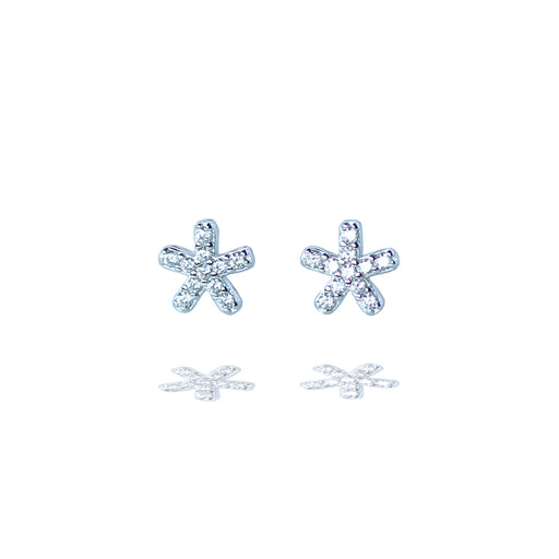 Sterling Silver Sparkly Starfish Stud Earrings