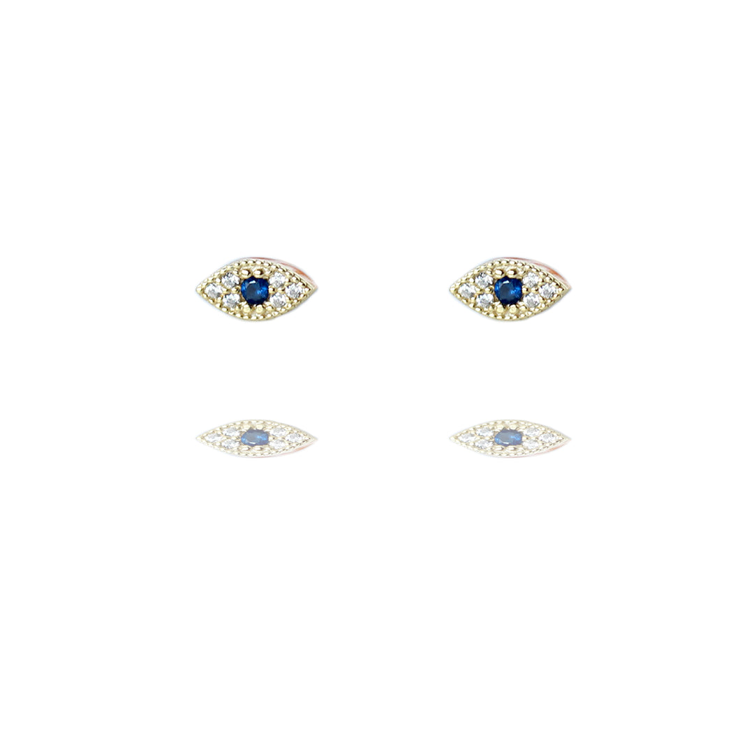 Gold Plated Sparkly Lucky Eye Stud Earrings