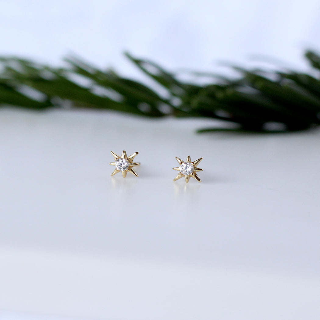 Gold Vermeil Sparkly Starburst Stud Earrings