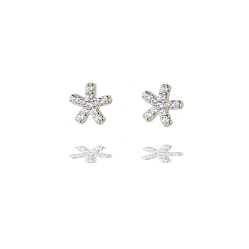 Gold Vermeil Sparkly Starfish Stud Earrings