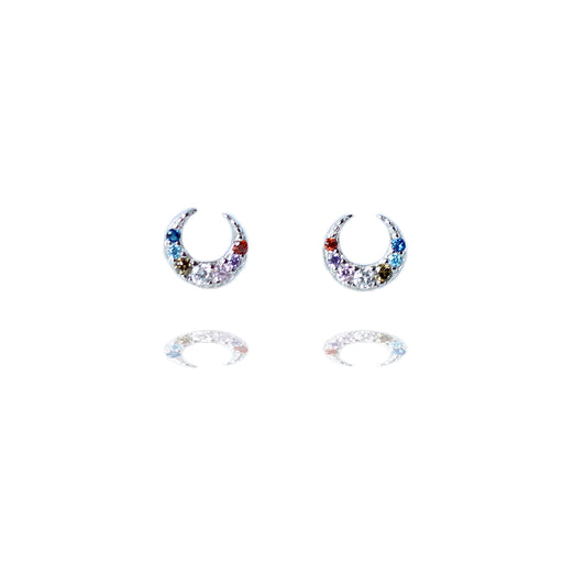 Sterling Silver Sparkly Colourful Moon Stud Earrings