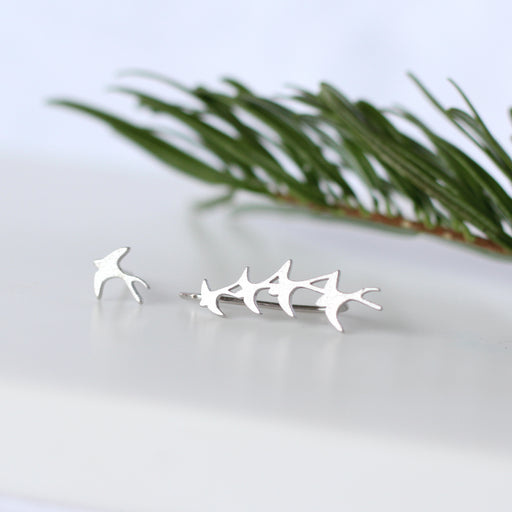 Sterling Silver Mismatched Flock of Birds Earrings