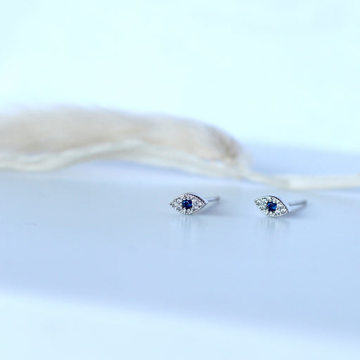 Sterling Silver Sparkly Lucky Eye Stud Earrings