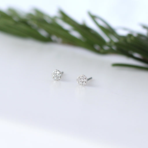 Sterling Silver Sparkly Disc Stud Earrings