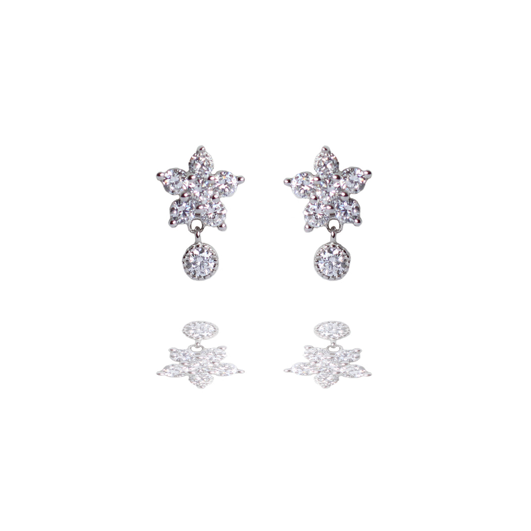 Sterling Silver Sparkly Flower Drop Stud Earrings
