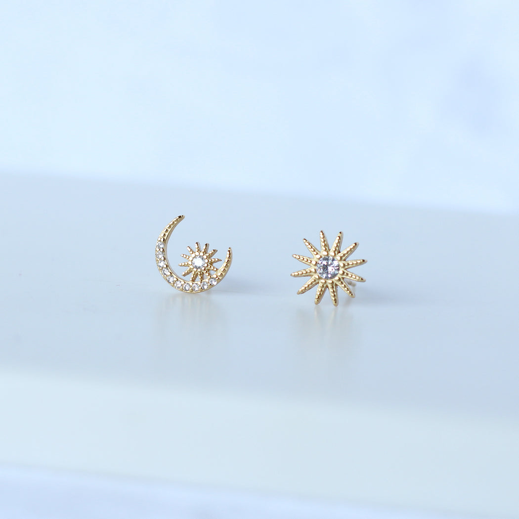 Gold Vermeil Mismatched Celestial Sun and Moon Stud Earrings