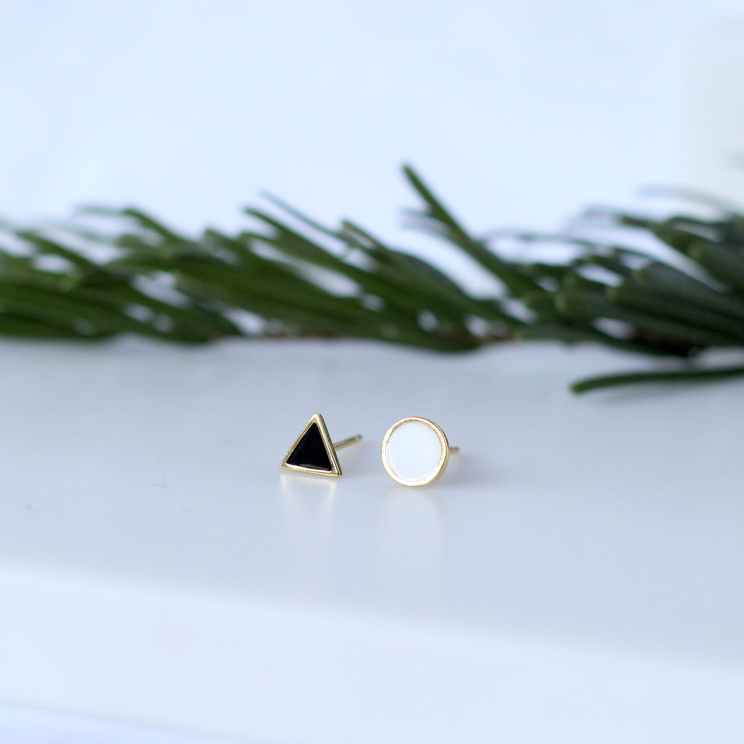 Enamel Golden Triangle and Circle Stud Earrings