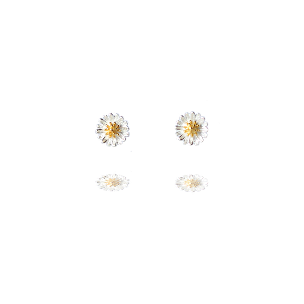 Sterling Silver Daisy Stud Earrings with Golden Centre