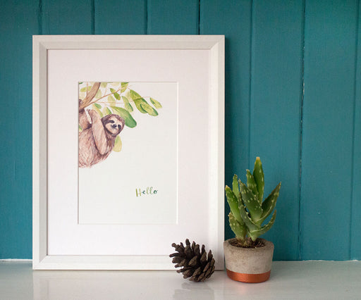 A5 Hello Sloth Art Print