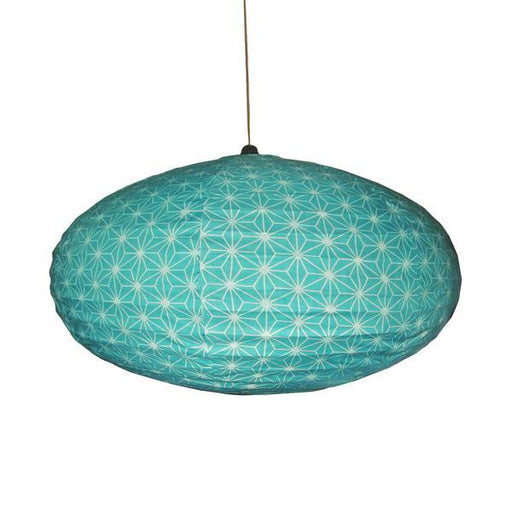 Small 60cm Cream and Turquoise Star Cotton Pendant Lampshade