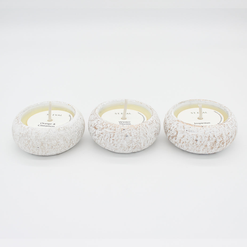 Small Cream & Gold Candles With Wintery Scents