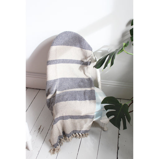Navy and Grey Striped Throw