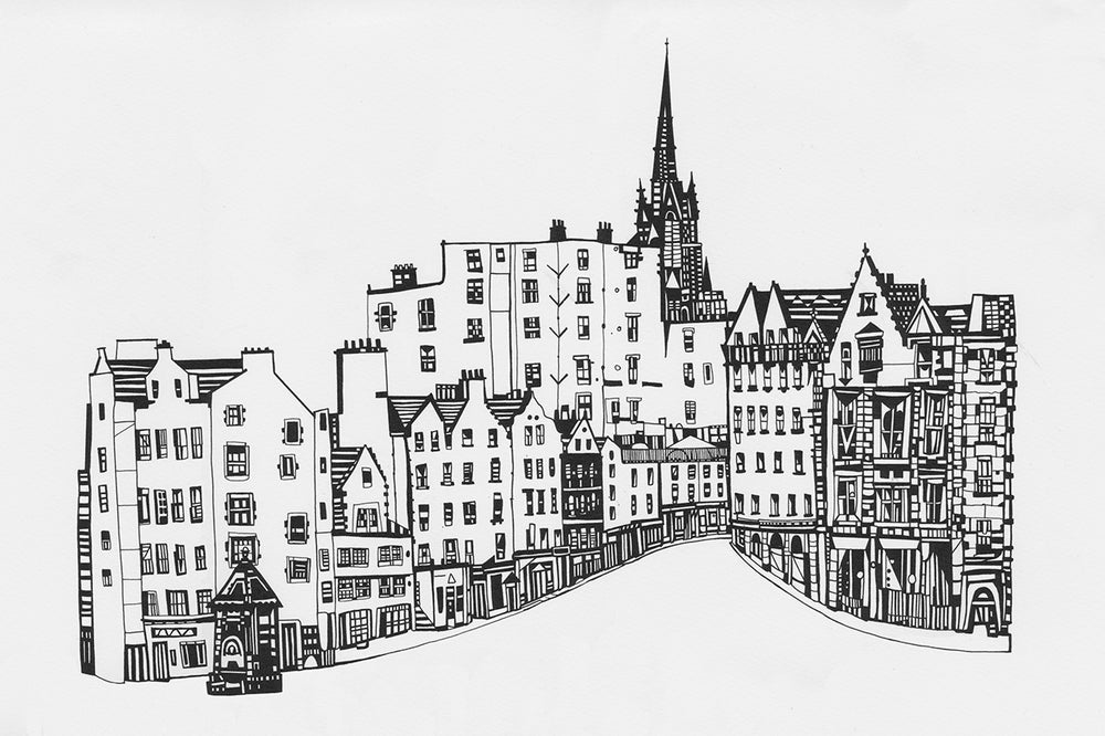 Victoria Street From The Grassmarket Hand Pulled Screen Print