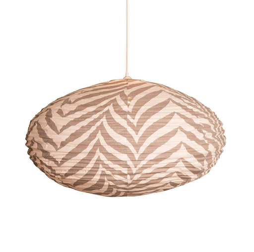 Large 80cm Cream and Grey Zebra Cotton Pendant Lampshade