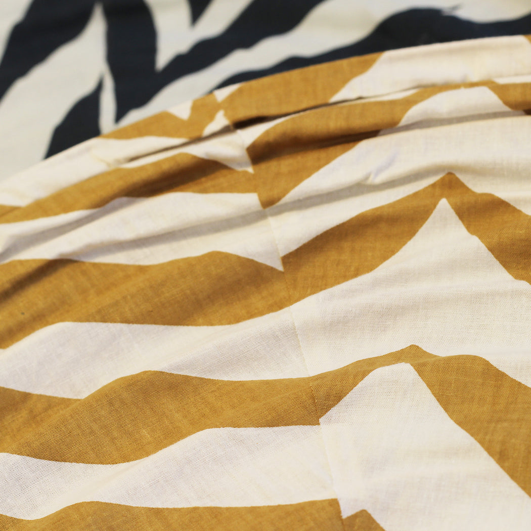 Large 80cm Cream and Mustard Zebra Cotton Pendant Lampshade