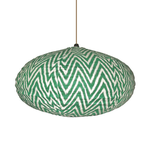 Small 60cm Cream and Green Zig Zag Cotton Pendant Lampshade