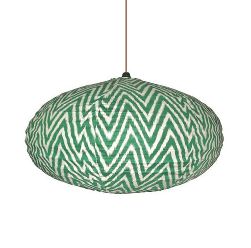 Large 80cm Cream and Green Zig Zag Cotton Pendant Lampshade