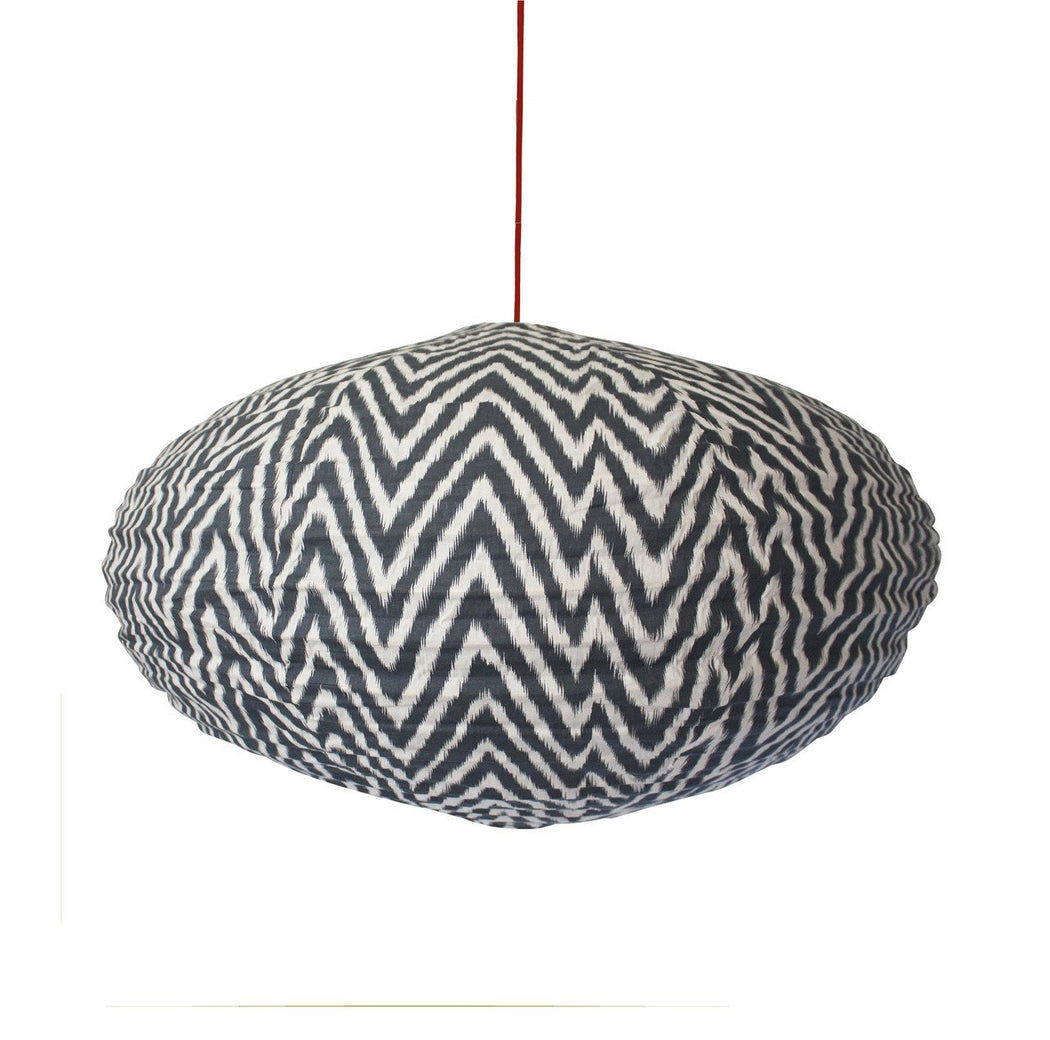 Small 60cm Cream and Grey Zig Zag Cotton Pendant Lampshade