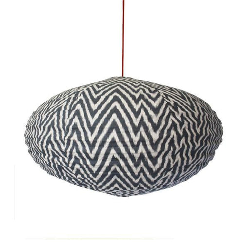 Large 80cm Cream and Grey Zig Zag Cotton Pendant Lampshade