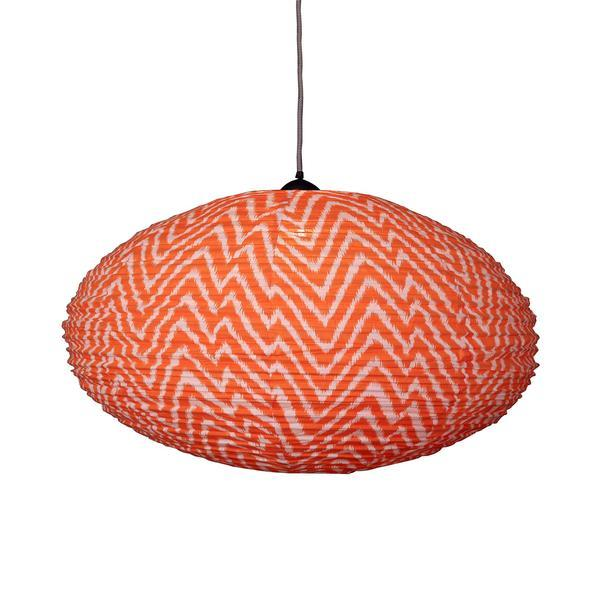 Large 80cm Cream and Orange Zig Zag Cotton Pendant Lampshade