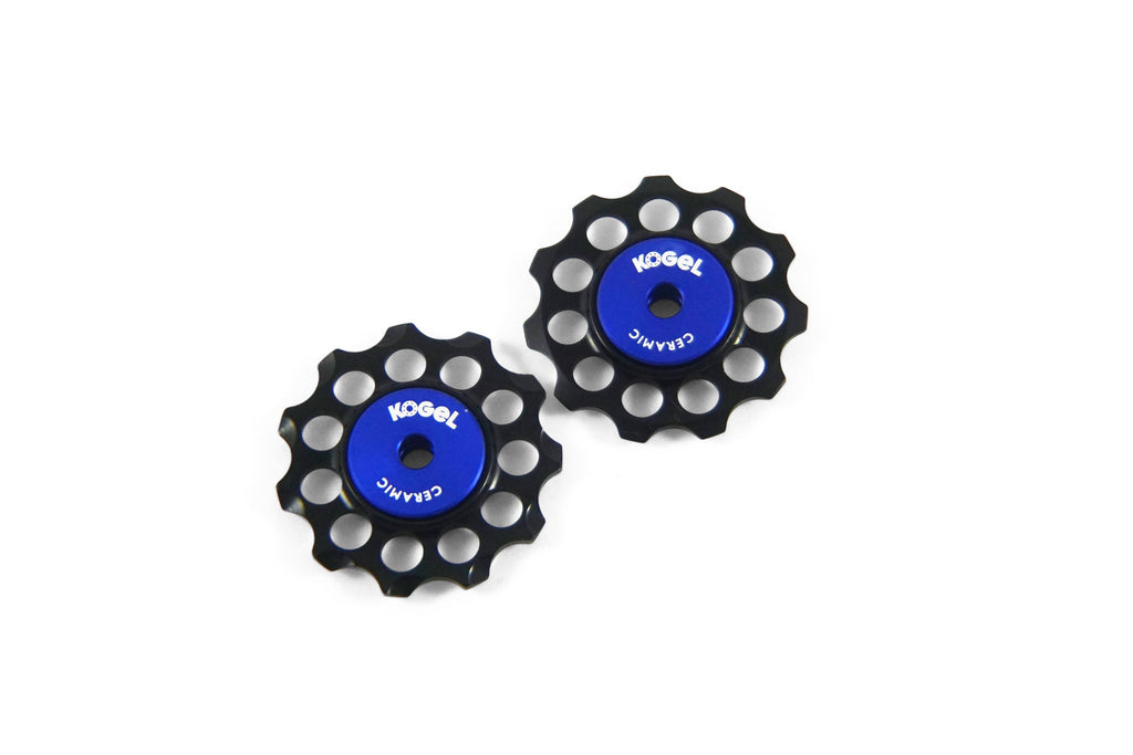 Aluminum derailleur pulleys with ceramic bearings
