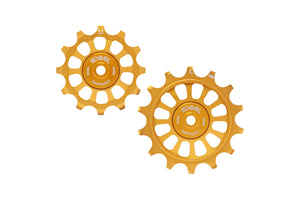 12/14T Oversized derailleur pulleys for Shimano Dura Ace R9100, Ultegra R8000 and 105 R7000 - Midas Gold