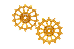 14/14T Oversized derailleur pulleys for Sram Eagle and Shimano 12 speed - Midas Gold