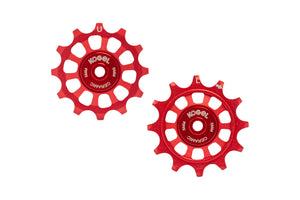 12/12T Oversized derailleur pulleys for Shimano 11, Etap and Campagnolo 12 speed - Fire Engine Red