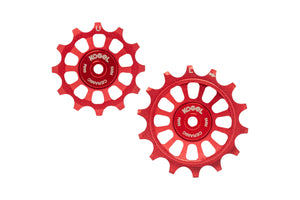 12/14T Oversized derailleur pulleys for Shimano Dura Ace R9100, Ultegra R8000 and 105 R7000 - Fire Engine Red