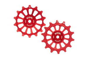 14/14T Oversized derailleur pulleys for Sram Eagle and Shimano 12 speed - Fire Engine Red