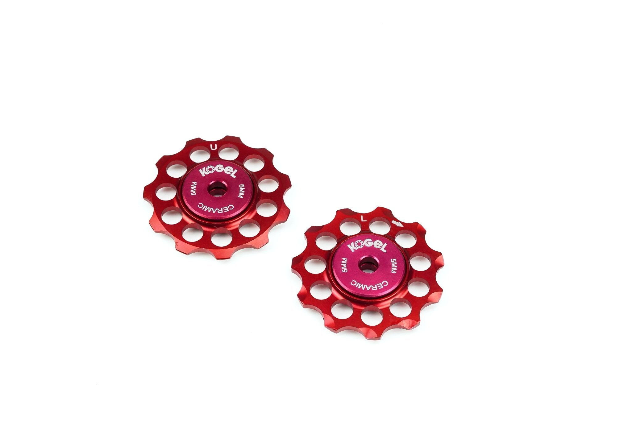 Fire Engine Red Aluminum derailleur pulleys with ceramic bearings