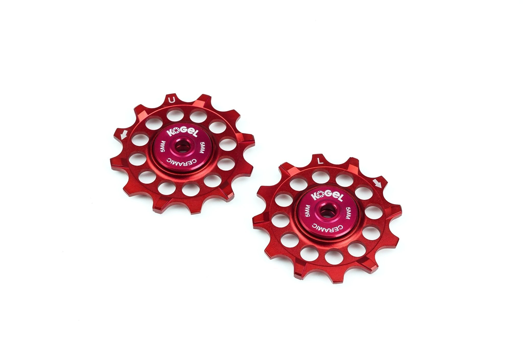 Fire Engine Red 12 tooth narrow wide pulleys for Sram and Shimano