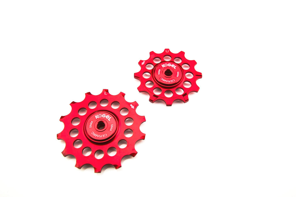 Fire Engine Red 12/14T Oversized pulleys for Shimano road derailleurs