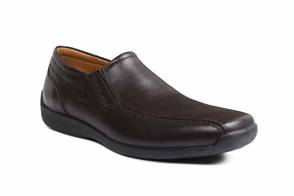 Ecrin LEATHER - Sledgers Mens Comfortable Shoe in Brown