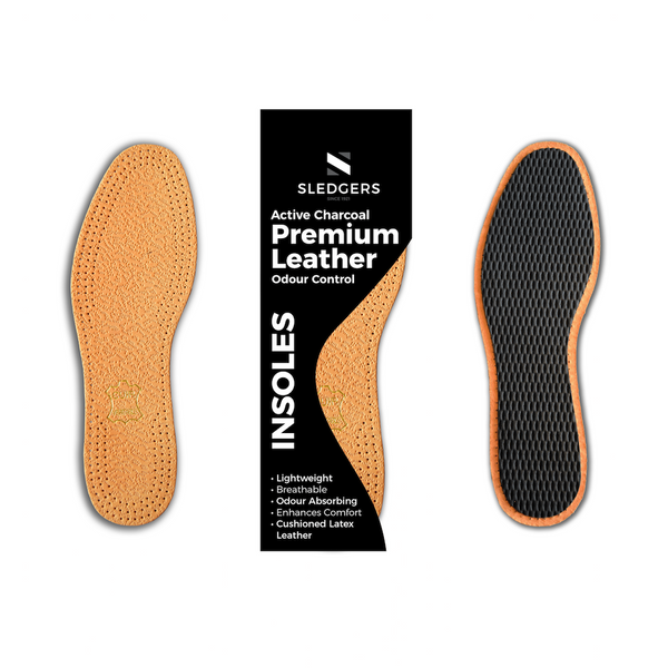 Sledgers Premium Leather Active Charcoal Insoles
