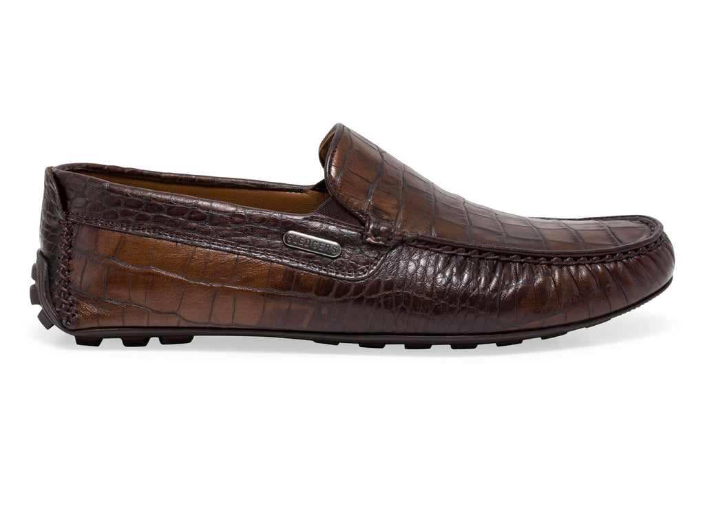 OZARK: Men's Handmade Croc Effect Leather Driving Shoes - Sledgers