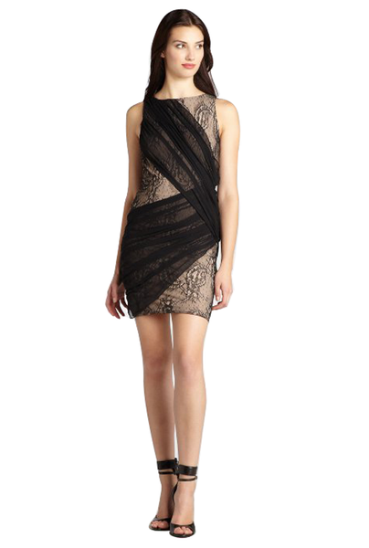 "Black And Nude Lace Silk Chiffon Draped 'Reika' Bandage Dress<br><p style=""color:red;"">Buy For $120</p>"