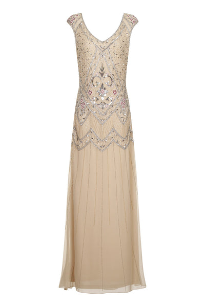 Lillian Embellished Nude Dress