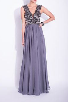 Raison V Neck Embellished Gown