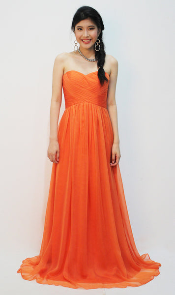 Orange Empire-Cut Dress