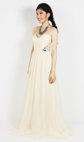 Strapless Chiffon Mirror Cut Gown