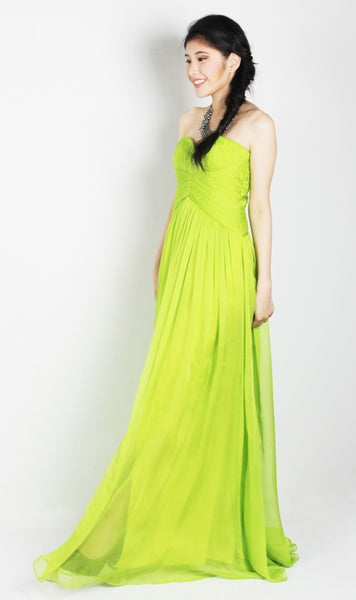 Lime Green Strapless Maxi Dress