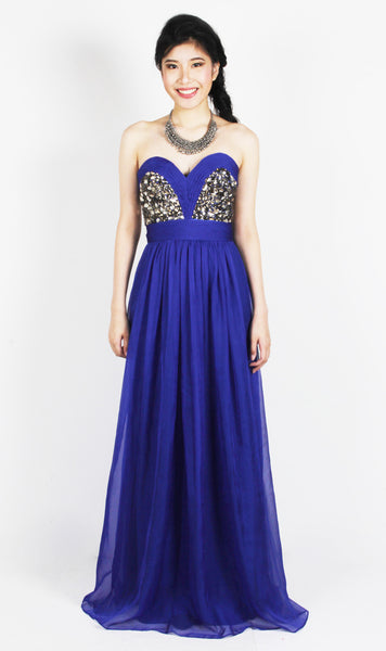 Electric Blue Embellished Strapless Dress