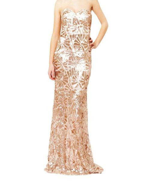 Valentina Rose Gold Sequin Maxi Dress