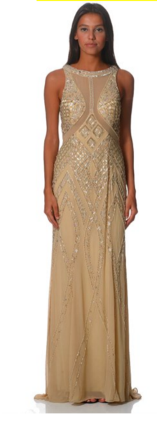 Lumier Beaded Beige Dress