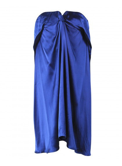 Blue Strapless Draped and Folded Bodice Dress